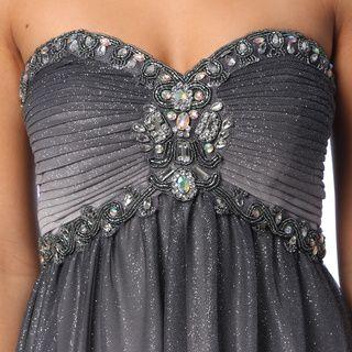 Cachet Women's Gunmetal Sleeveless Glitter Mesh Gown | Overstock.com Shopping - Top Rated Evening & Formal Dresses