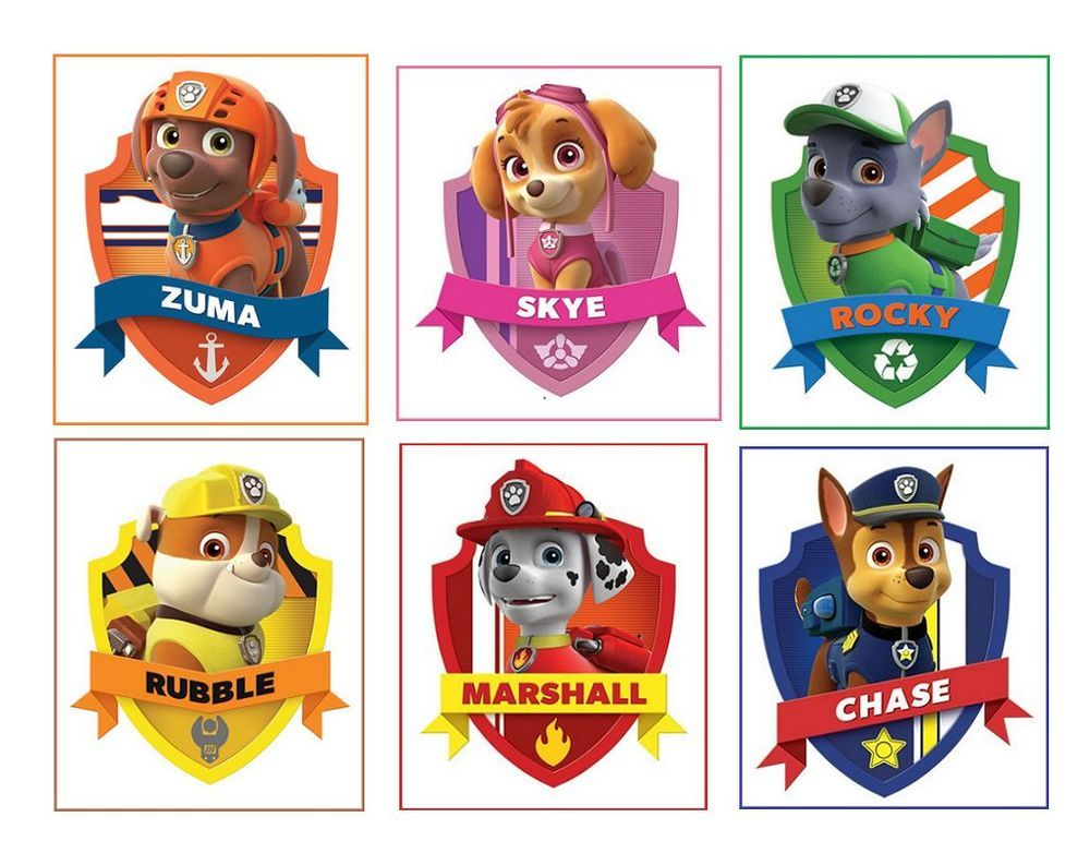 6 Paw Patrol Stickers, Party, Favors, Gifts, labels ...