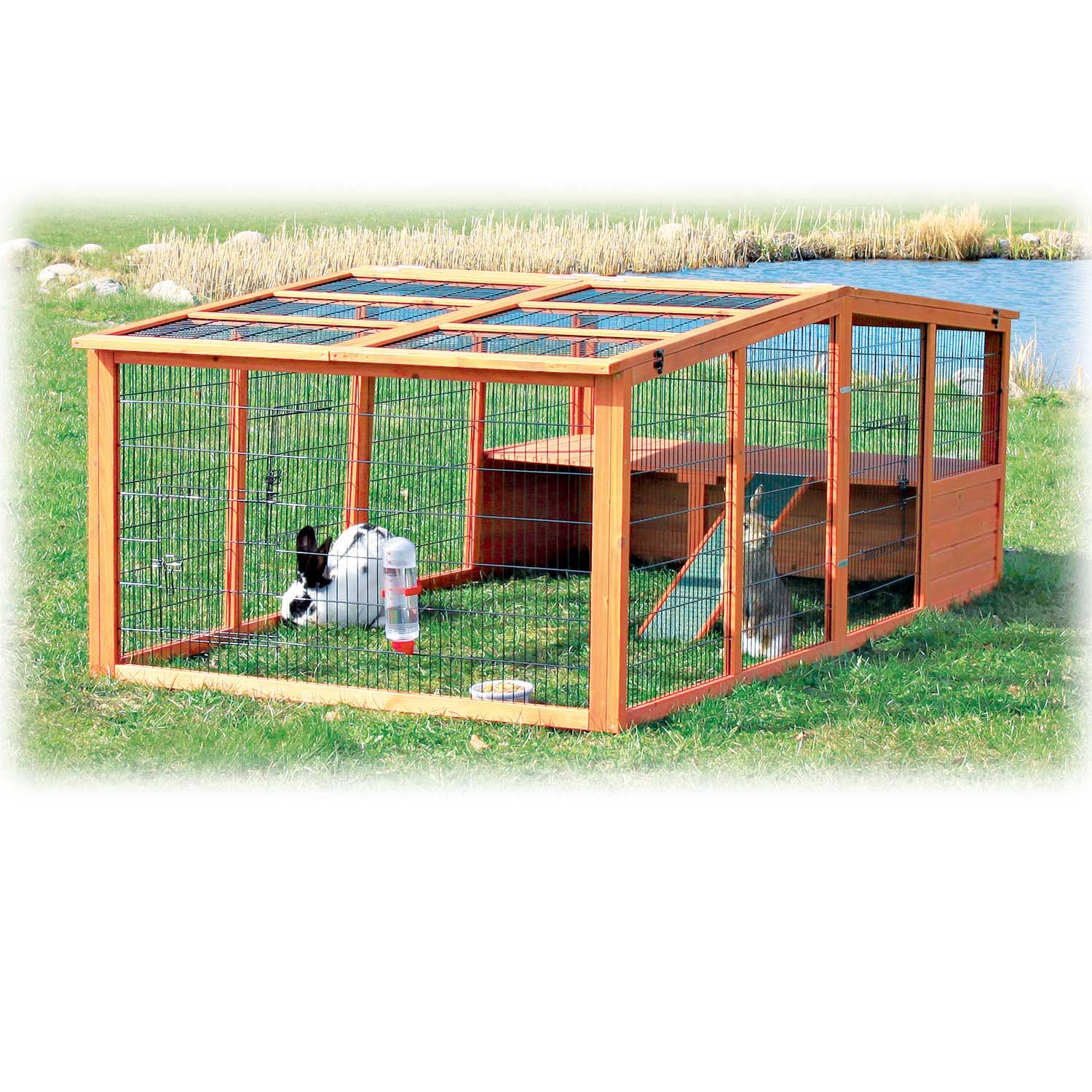 Trixie Natura Peaked Roof Outdoor Rabbit Run with Shelter ...