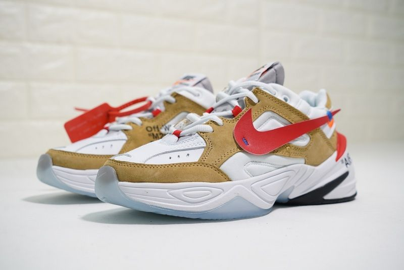 High Quality Off White X Nike Air Monarch the Tekno White Yellow Red A03108  200 f3015efe8