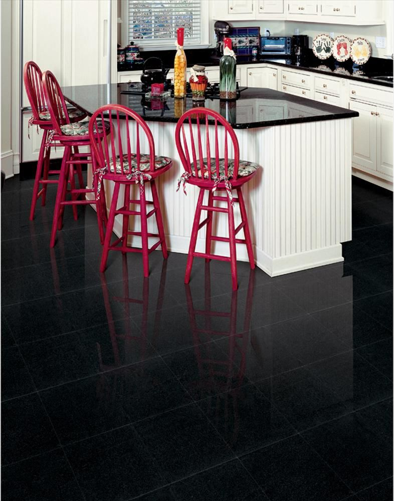High Gloss Black Granite Tiles Kitchen Floor White Kitchen Cabinet Flooring Kitchen Floor Tile Black Floor Tiles
