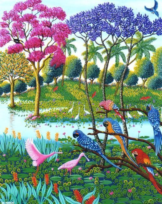 Visitando As Araras, Painting by
