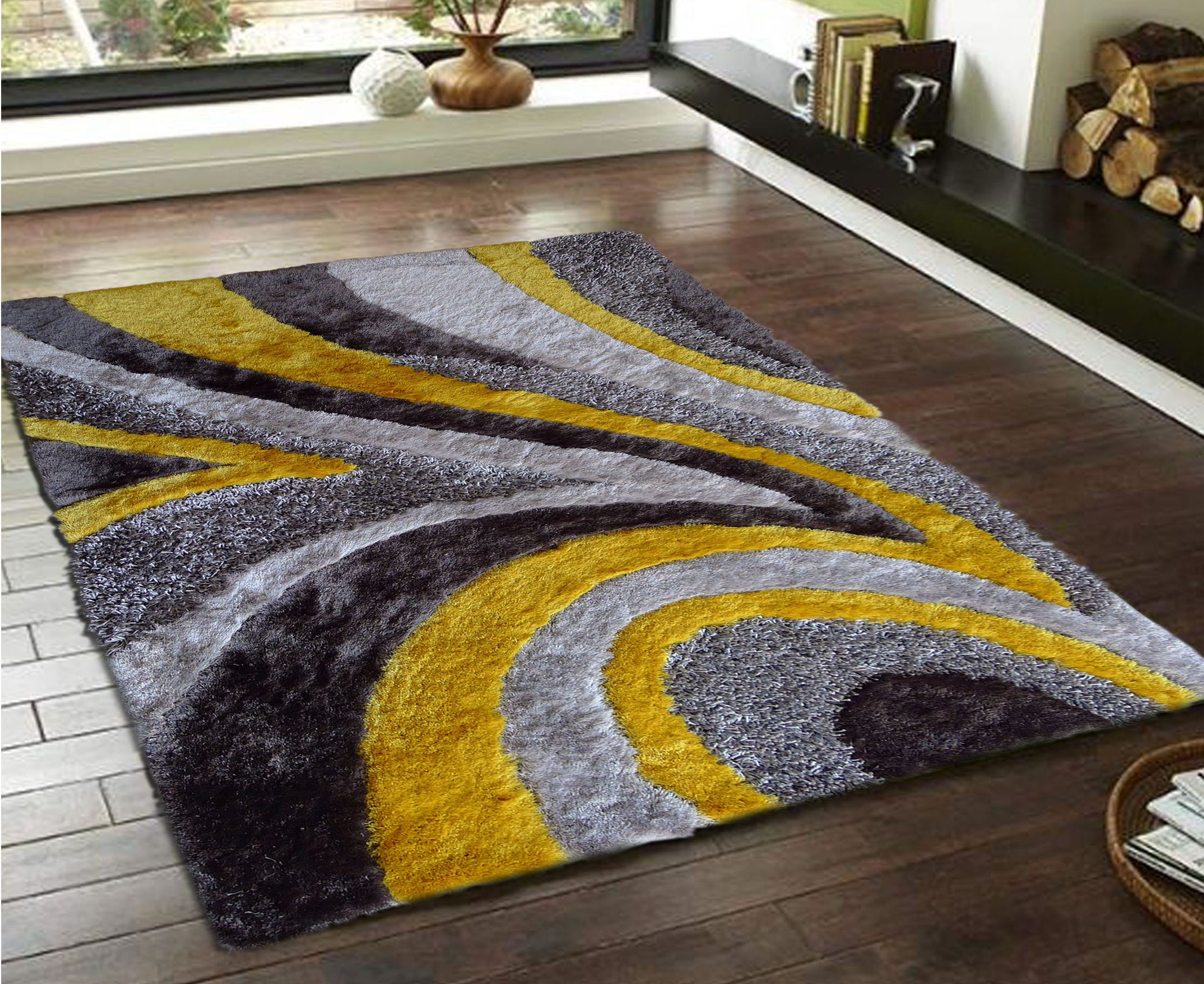 Gray Yellow Shag Rug Comes In Different Size And Shape From