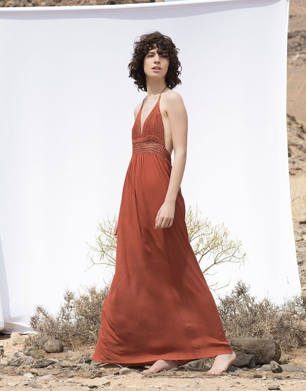LONG CROCHET DRESS - DRESSES - WOMAN - PULL&BEAR United Kingdom