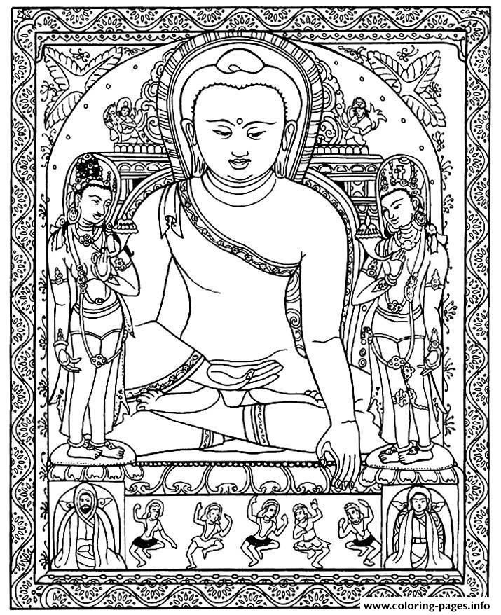 Print adult tibetain bouddha coloring pages | Buddha coloring ...