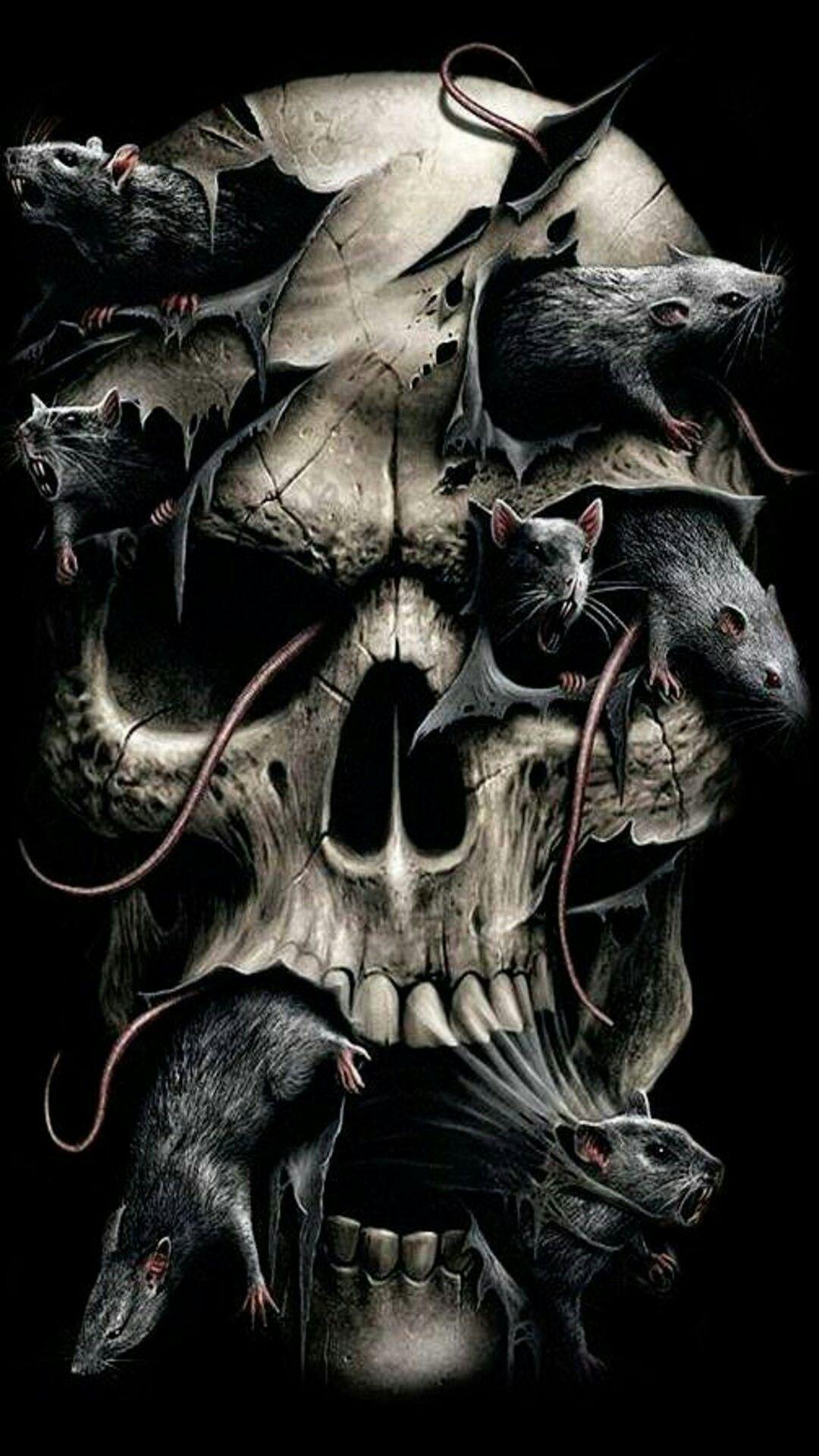 Skull Wallpaper Dark Art Mobile Phones Fantasy Gif Skulls Hd Desktop Backgrounds