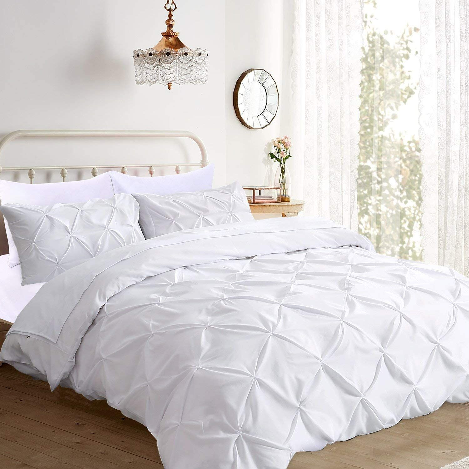 Ucharge Unique Pinch Pleat Pintuck Duvet Cover Set 3 Pieces