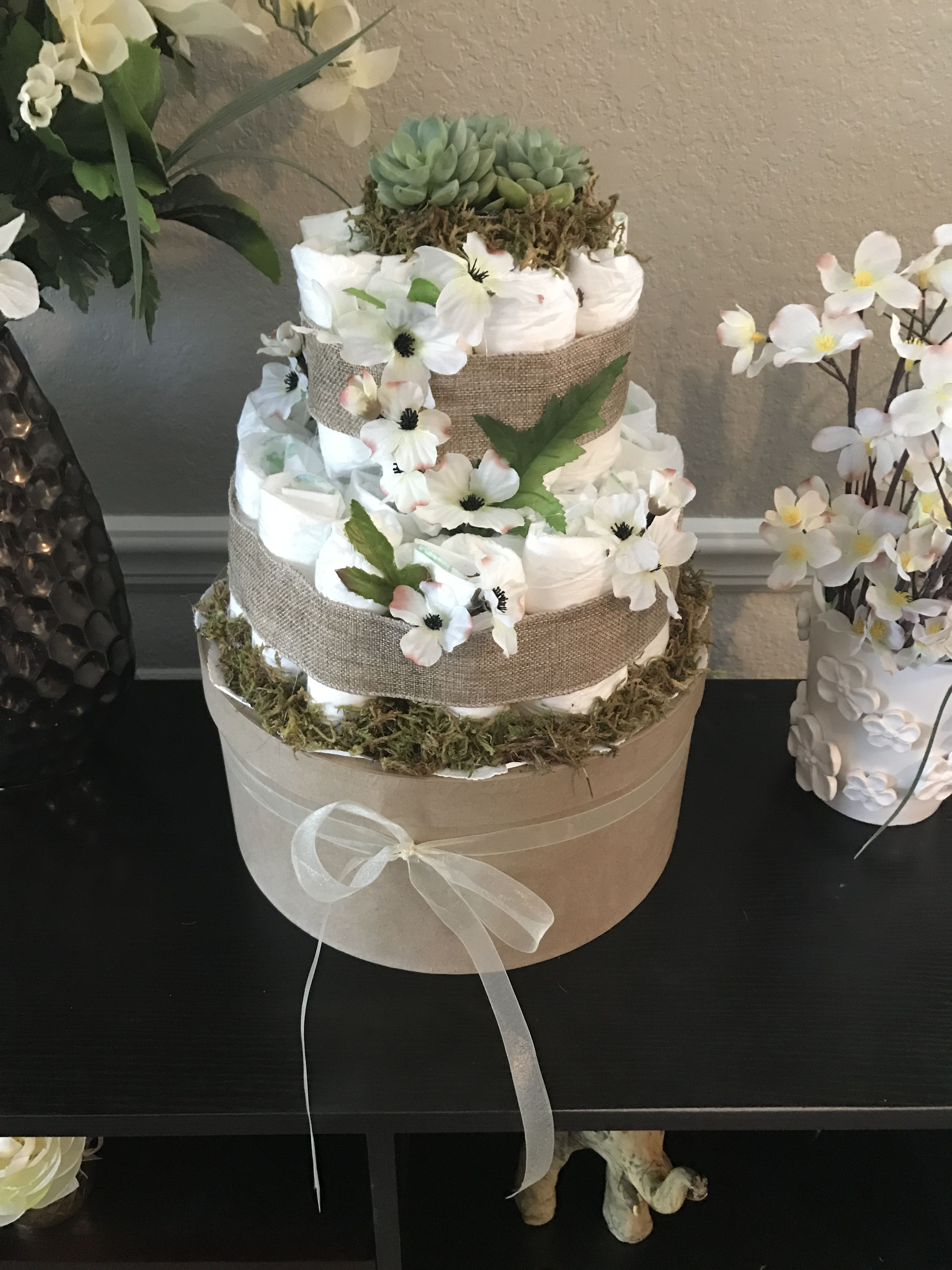 Succulent Diaper Cake With Images Pamper Cake Baby Shower