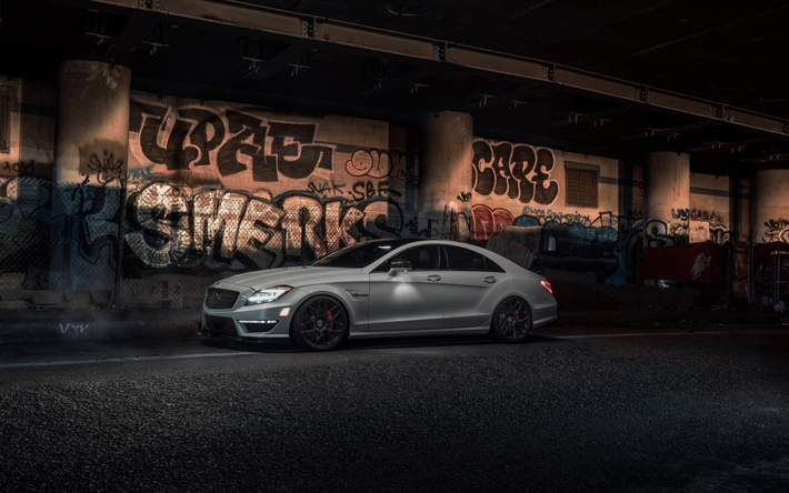 Download Wallpapers Mercedes Benz Cls63 Amg 2018 White Cls Sports Sedan Tuning Black Wheels Graphity W218 Cls63 Mercedes Besthqwallpapers Com Mercedes Benz Cls Black Mercedes Benz Mercedes Benz