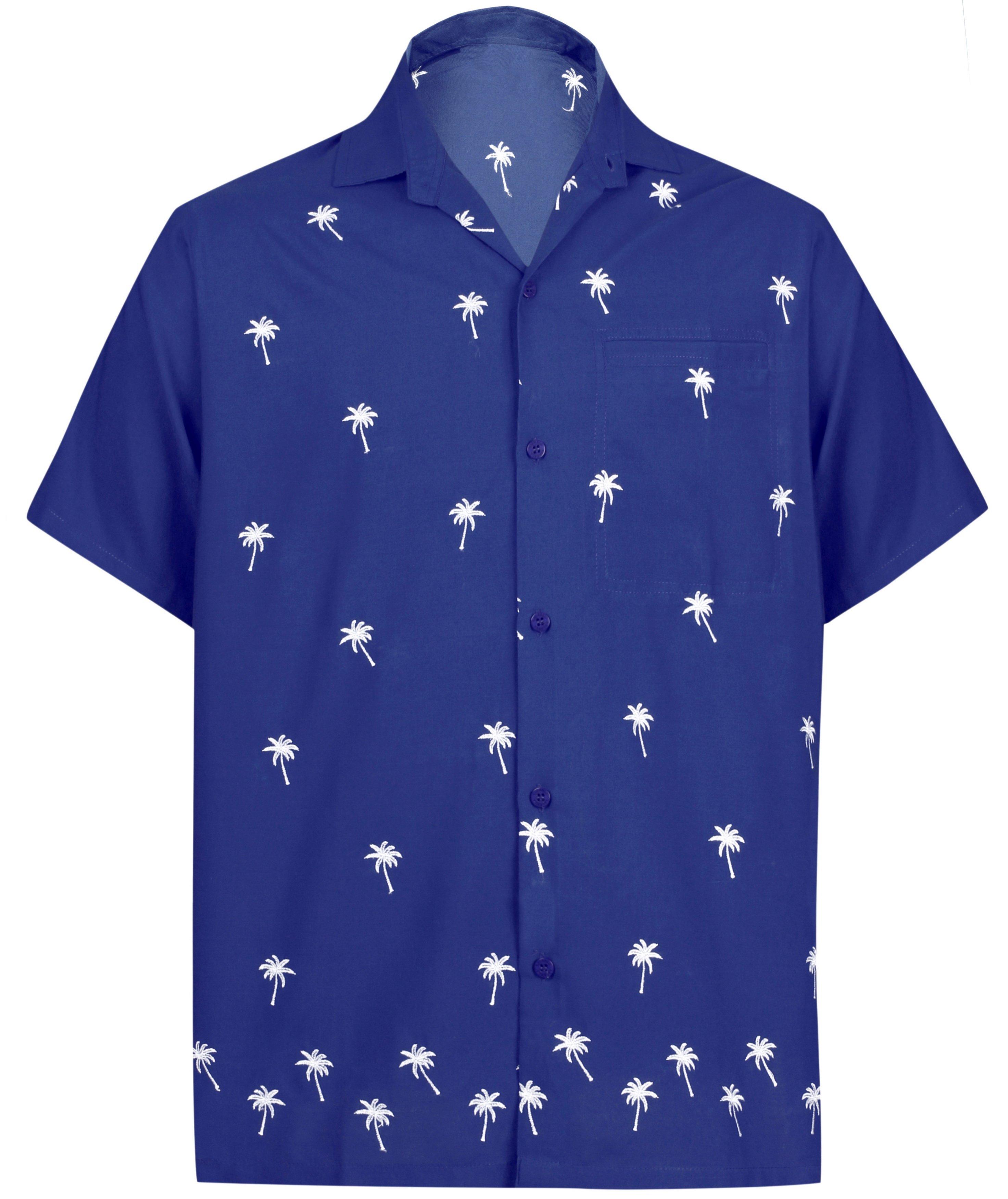 4ea207b4 LA LEELA Men's Beach Hawaiian casual Aloha Button Down Short Sleeve shirt  Blue_W823