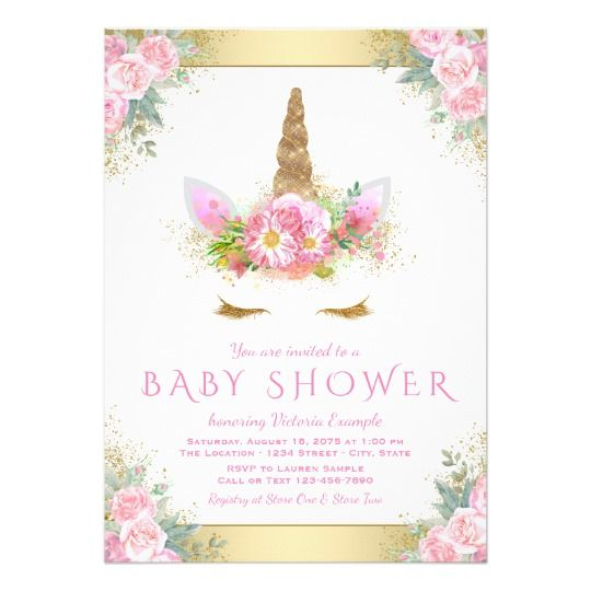 Cute Unicorn Face Pink Gold Baby Shower Invitation Cumpleanos