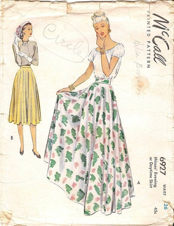Fab Vintage 1940s McCall 6927 Full Flared Circle Skirt in Evening or ...