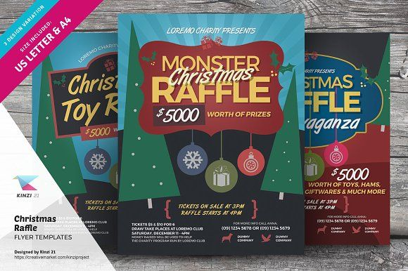 Christmas Raffle Flyer Templates By Kinzi On Creativemarket