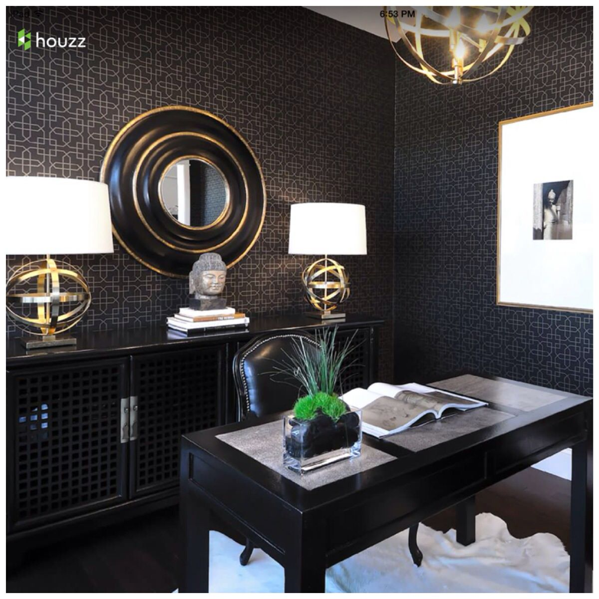 Homeoffice Den Design Ideas: Black And Ahold Glam Diva Den