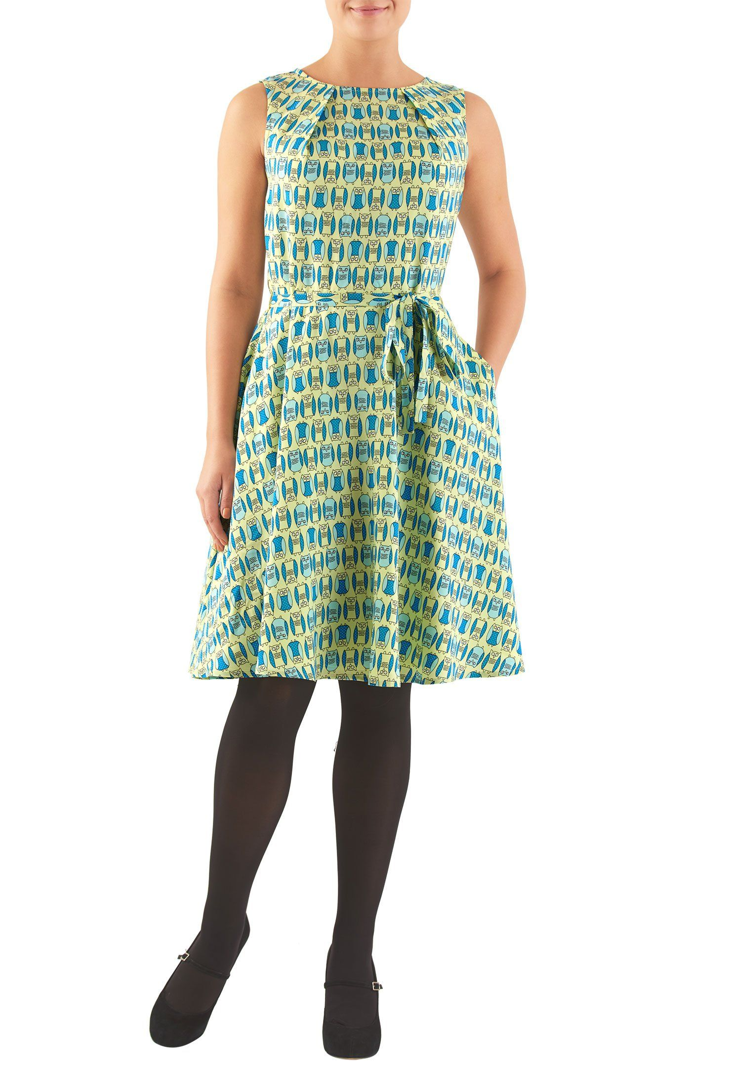 Eshakti womenus owl print pleat neck dress xw short lime yellow