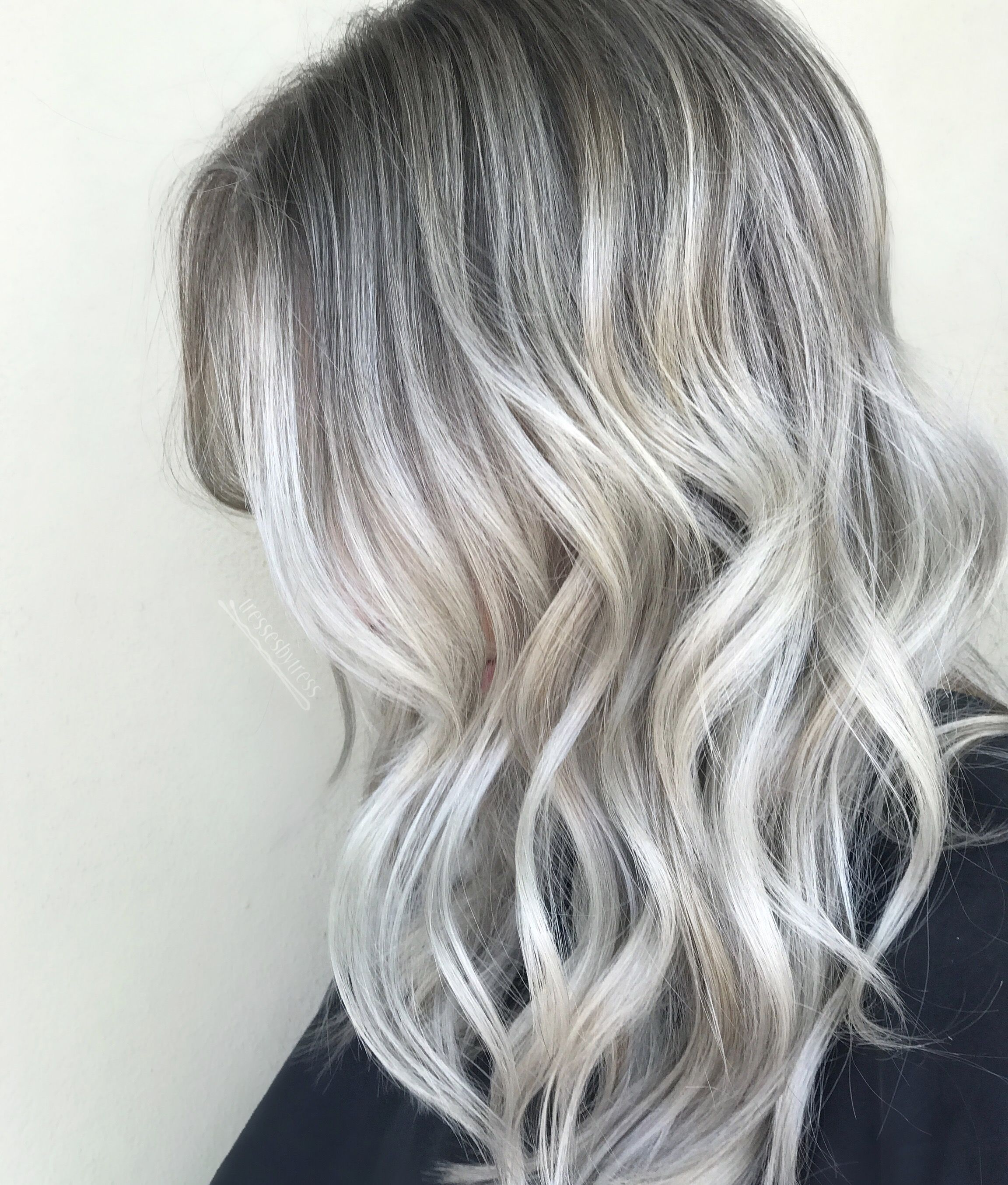 Platinum Ash White Blonde Balayage With Images Silver Blonde