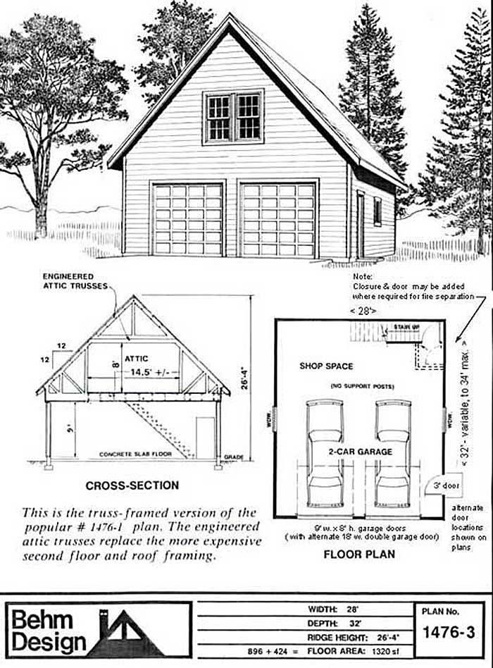 OVERSIZED 2  CAR GARAGE PLANS BLUEPRINTS 28 FT  X  32 FT