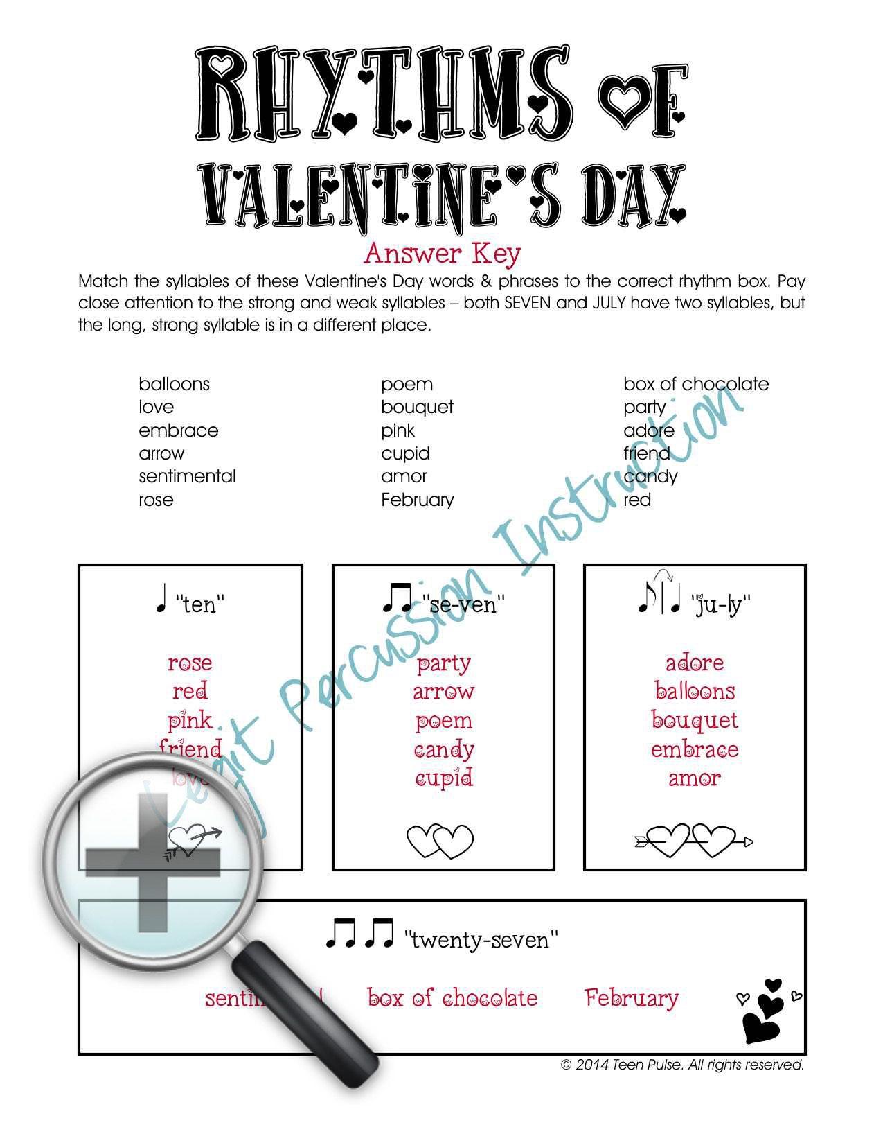 Valentine S Day Rhythm Worksheets