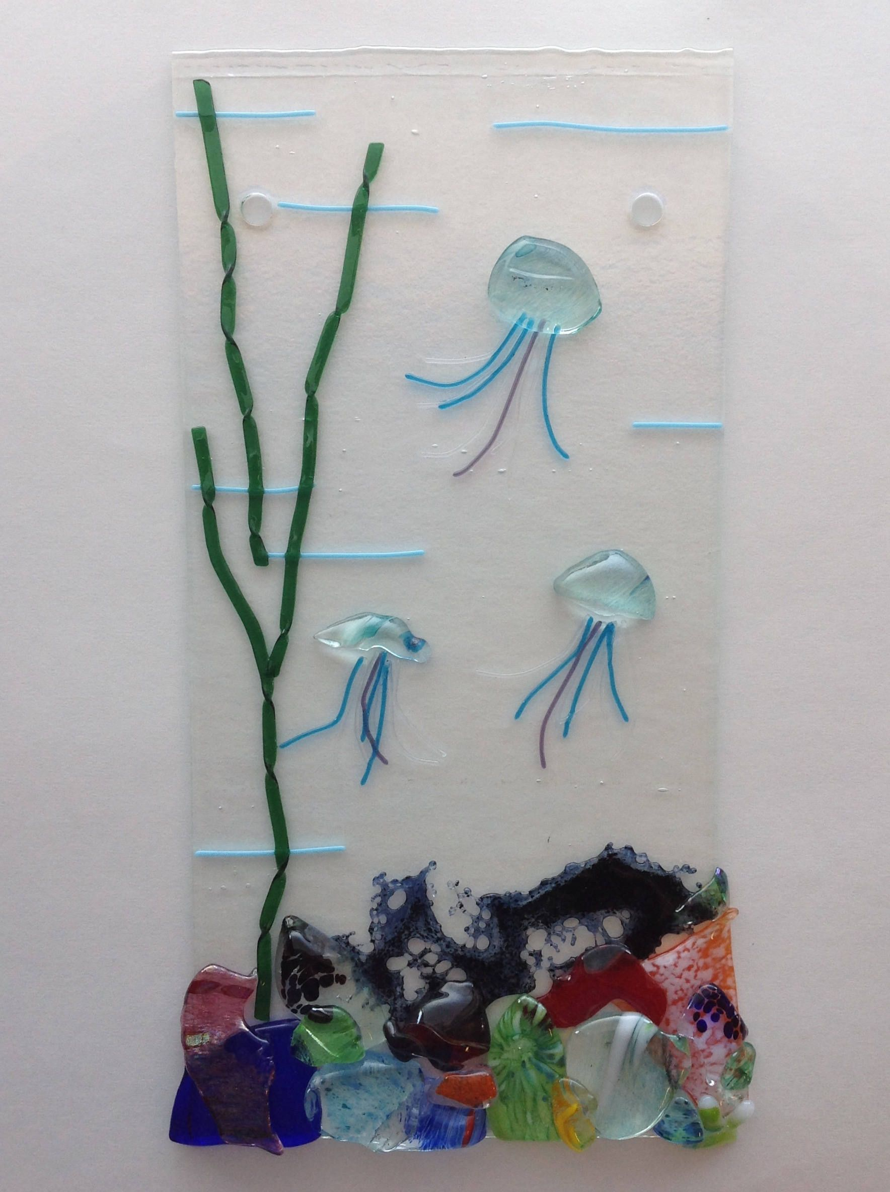 Fused Glass Seascape Coral Jellyfish Aquarium Aqua By KMGlassCreations On Etsy Fused Glass