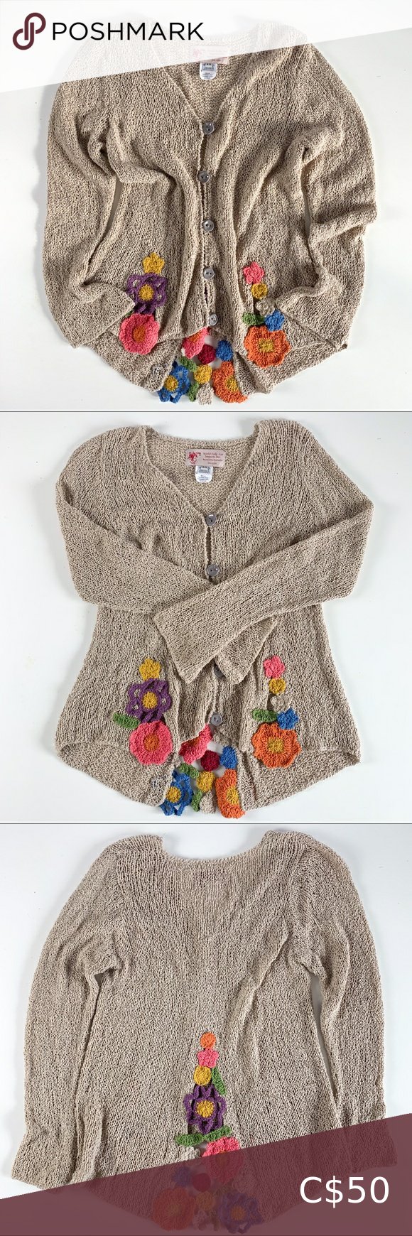 Vintage folk art knit floral cardigan