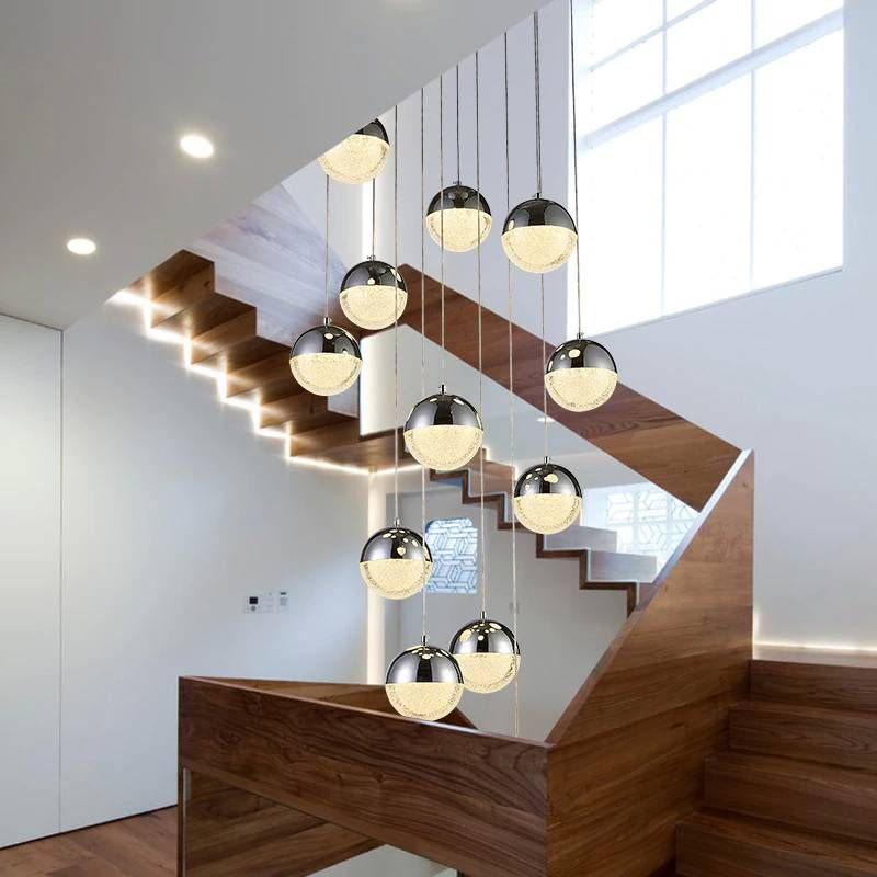 Rotating Led Suspension Crystal Ball Pendant Lights For Restaurant Living Room Duplex House Fish Cord Hanging Lamp Lustre Light In 2020 Kids Room Lighting Pendant Lighting Bedroom White Lamp Shade