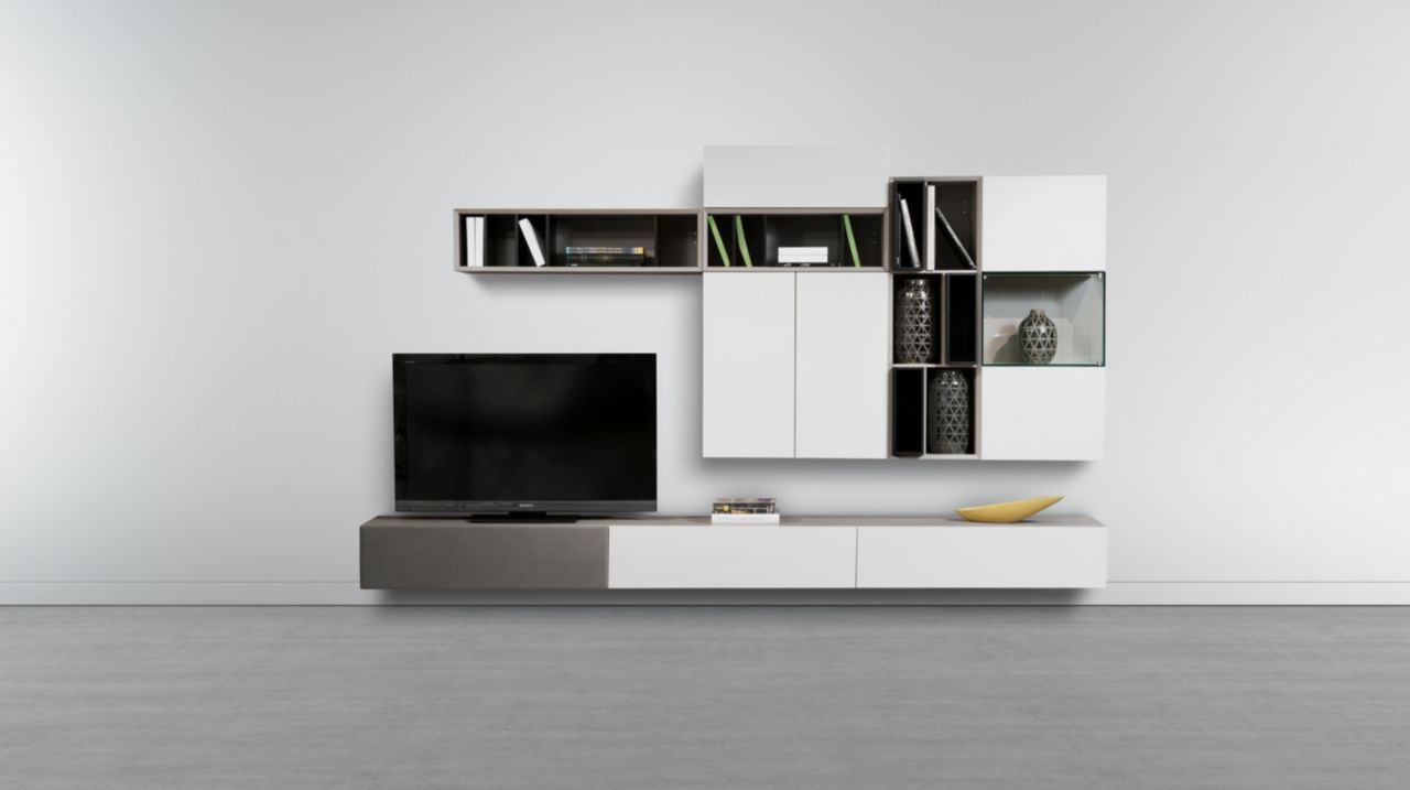 Modular Composition With Many Elements That Allow Different Associations Of Elements Mounted On The Wall Or On The Floor M Sofa Bed Floating Shelves Wall Unit