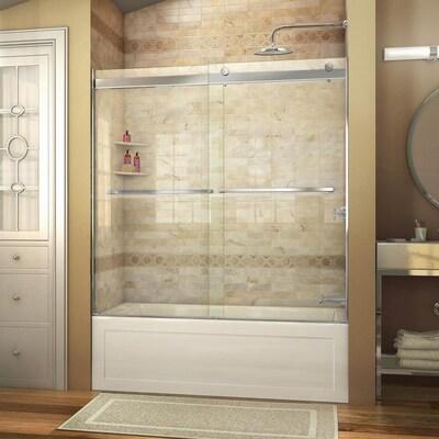 "DREAMLINE VISIONS 60/"" x 58/"" SLIDING TUB SHOWER DOOR 1//4/"" GLASS"