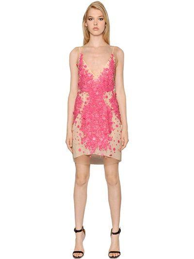 79d3fe93 AMEN Sequined Techno Tulle Dress, Nude/Fuchsia. #amen #cloth #dresses