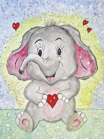siegfried2838 elefant emil  glasbild 60 x 45 cm  kinder