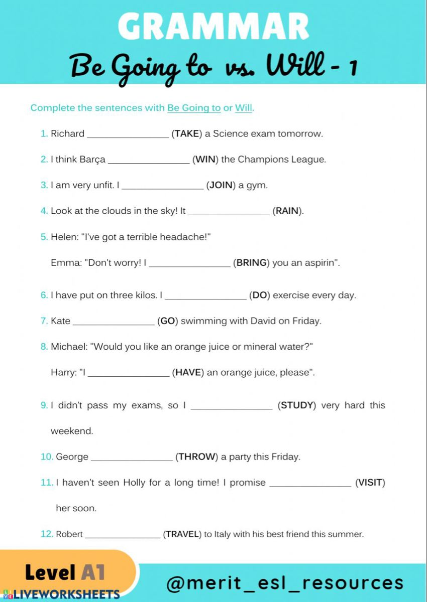 Will Vs Going To Interactive And Downloadable Worksheet You Can Do The Exercises Online Or Downloa School Subjects Grammar For Kids English Teaching Resources