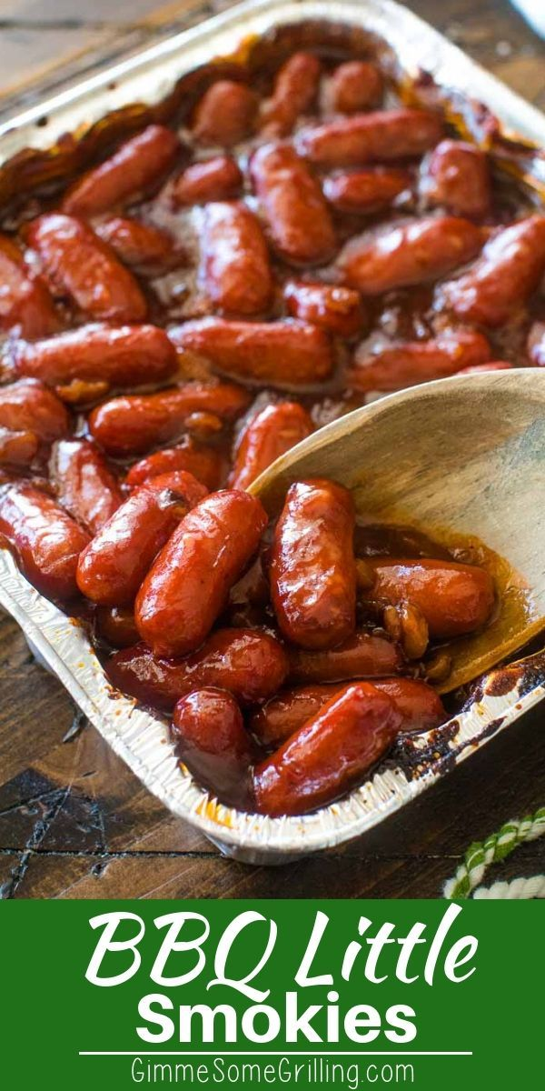 This quick and easy party appetizer is always a hit! You can make these BBQ Little Smokies in the oven or on the grill if you are tailgating. Mix everything in the pan and after you are done enjoying this quick recipe you can throw the pan away for easy clean up! #appetizer #tailgating #easypotluckrecipes