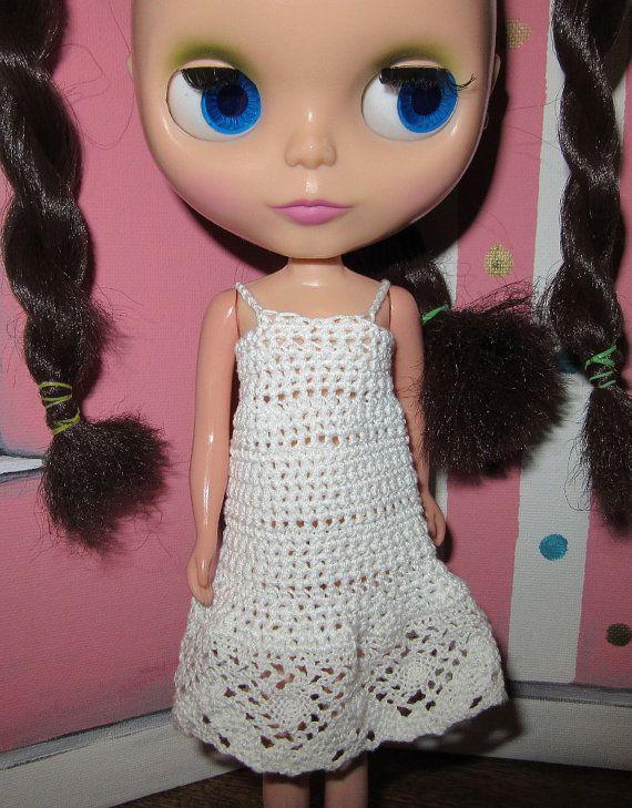 Blythe White Dress with Lace Ruffle Crochet Dress by pinkujane