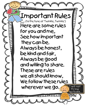 Rules poster to the tune of Twinkle Twinkle Little Star