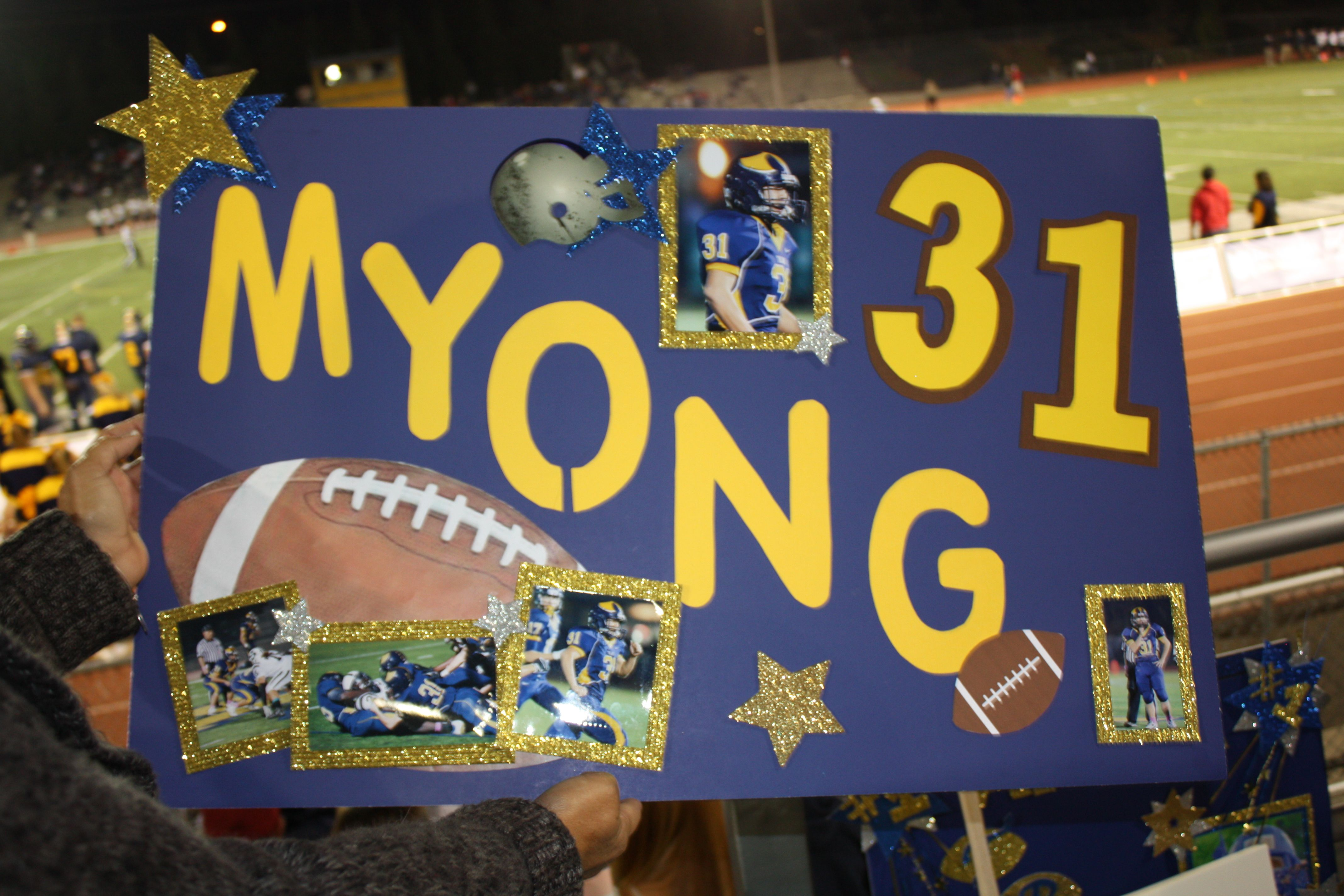 Juniors Present Senior Football Players Trainers With A Good Luck Poster Senior Football Football Homecoming Football Poster