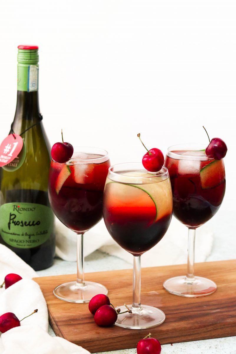 Cherry Cucumber Prosecco Spritz Recipe Prosecco Riondo Prosecco Food Garnishes