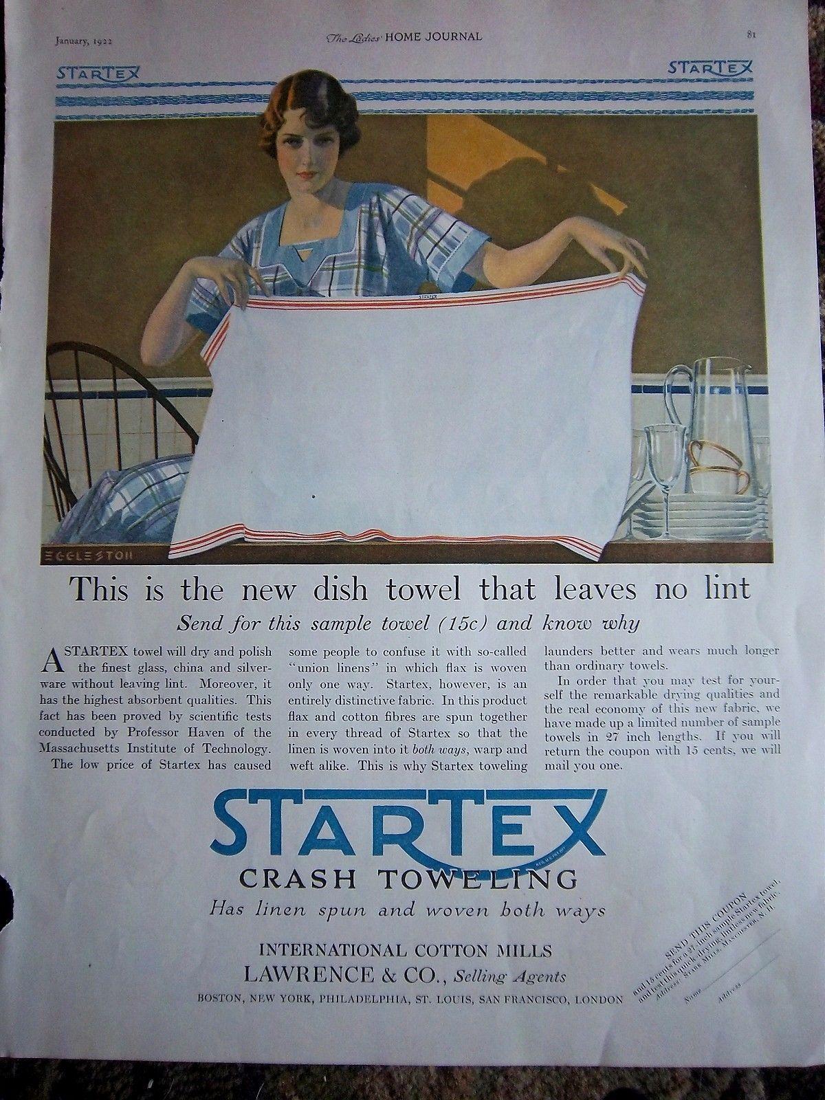 1922 Vintage Startex Kitchen Linen Dish Towel Textile No Lint