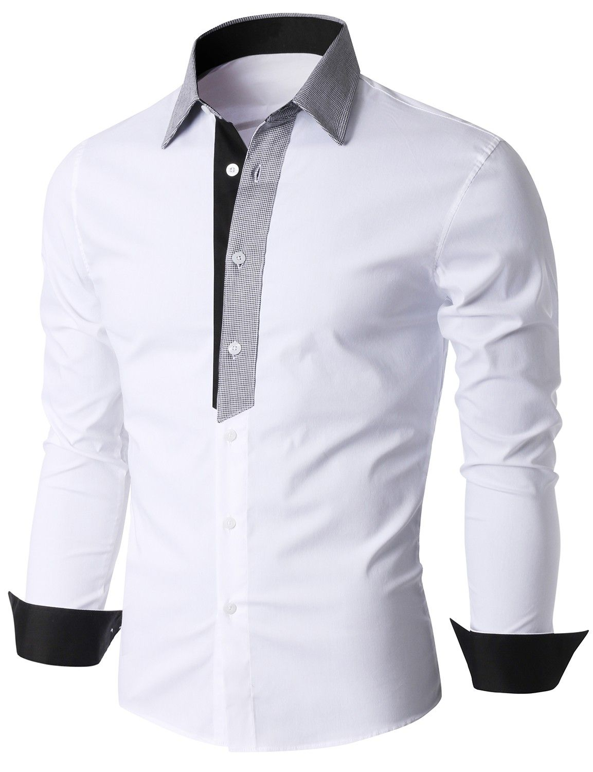 3599f592521f Doublju Men s Contrast Collar and Placket Long Sleeve Dress Shirt  (KMTSTL0185)  doublju