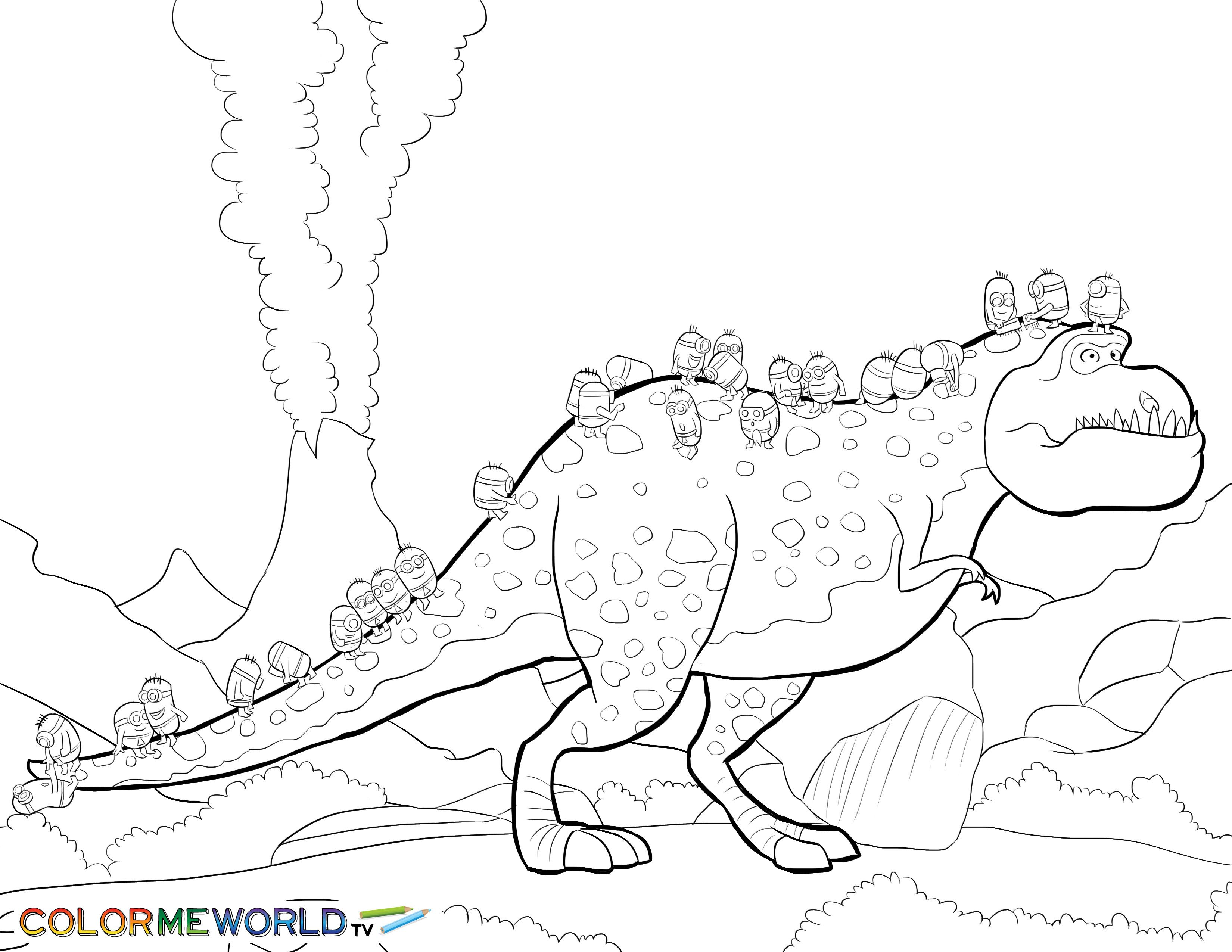minions with dinosaur pdf printable coloring page minions