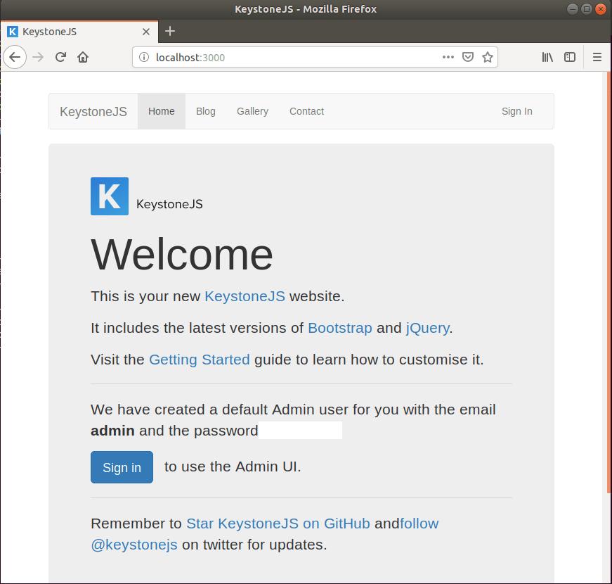 Install KeystoneJS CMS (Node js) Platform on Ubuntu 16 04 / 18 04