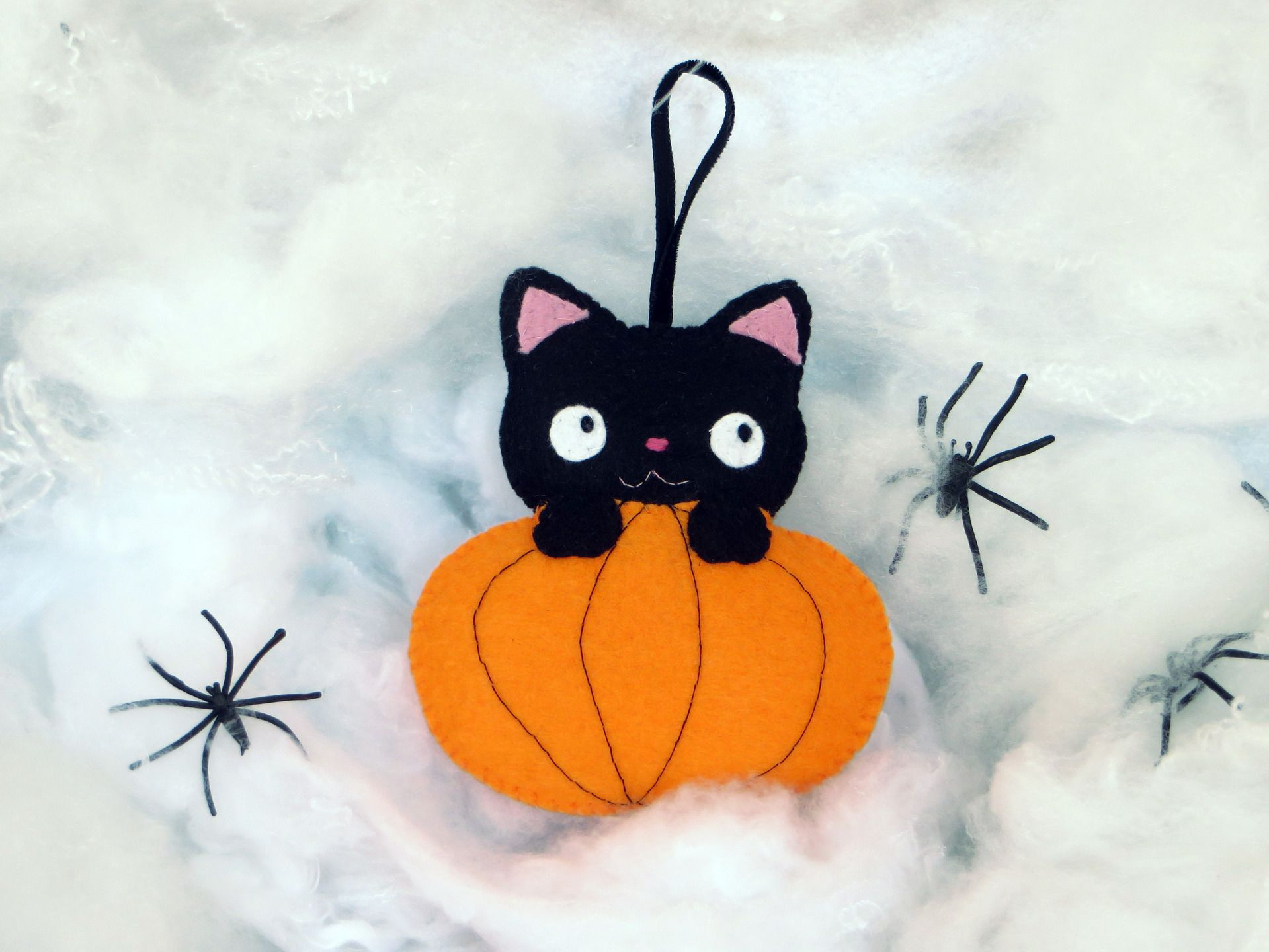 Halloween, chat noir, citrouille, chat kawaii, deco chat