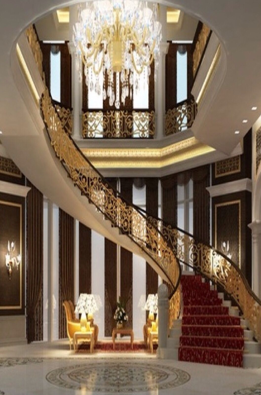 Luxury foyer luxuryhome dream houses pinterest for Luxury staircases