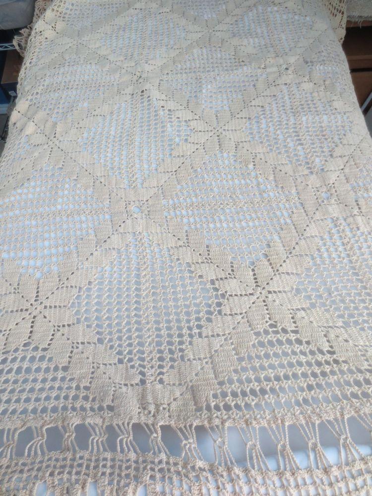 Vintage Cotton Handmade Hand Crocheted Ecru Coverlet Bedspread 60x80 ...