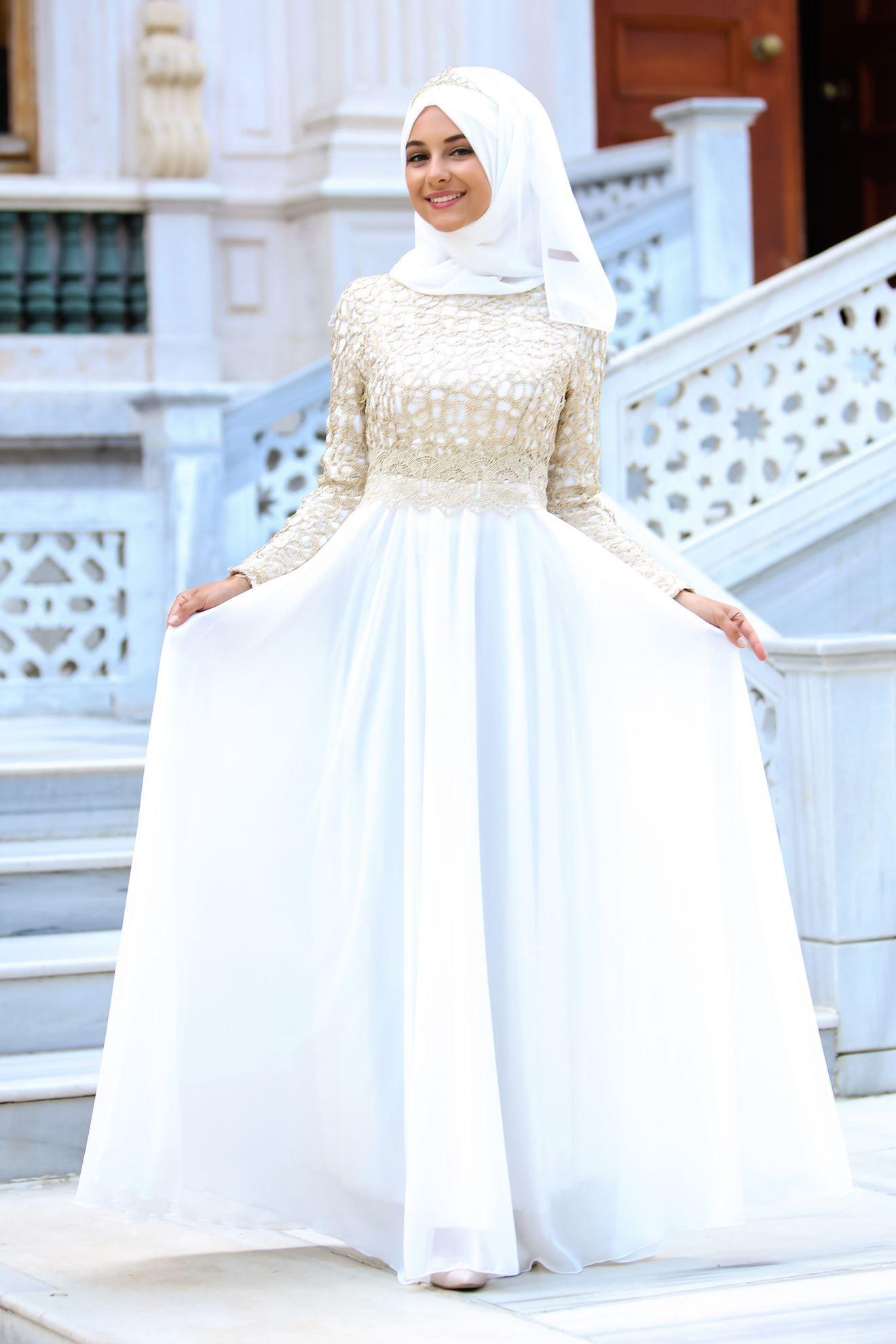 299 00 Tl Yerine 169 90 Tl Siparis Vermek Icin Https Goo Gl Py95if Urun Bilgisi Gold Dantelli Beyaz Tesettur Abiye Elbise Elbise Moda Stilleri Gelinlik