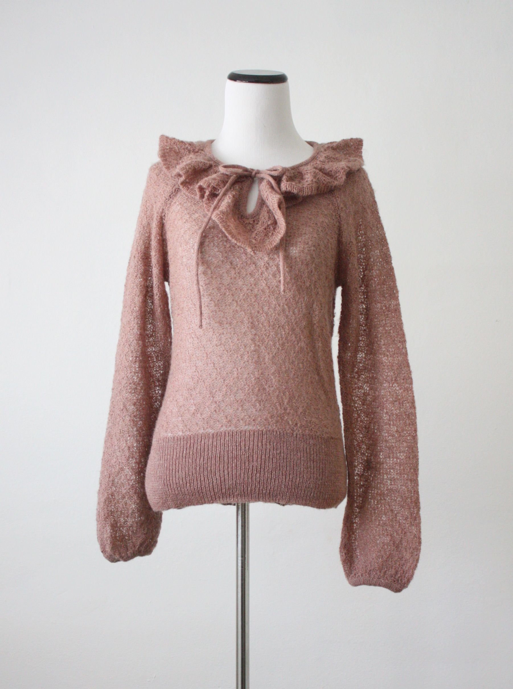 vintage dusty rose ruffle sweater