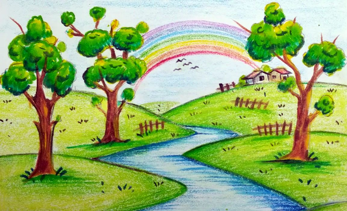 Scenery Drawing For Kids Image By Maryam On Painting Drawing