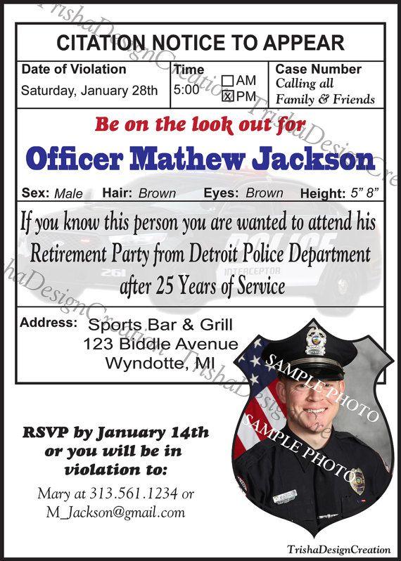 Police Theme Retirement Invitation Each By Trishadesigncreation