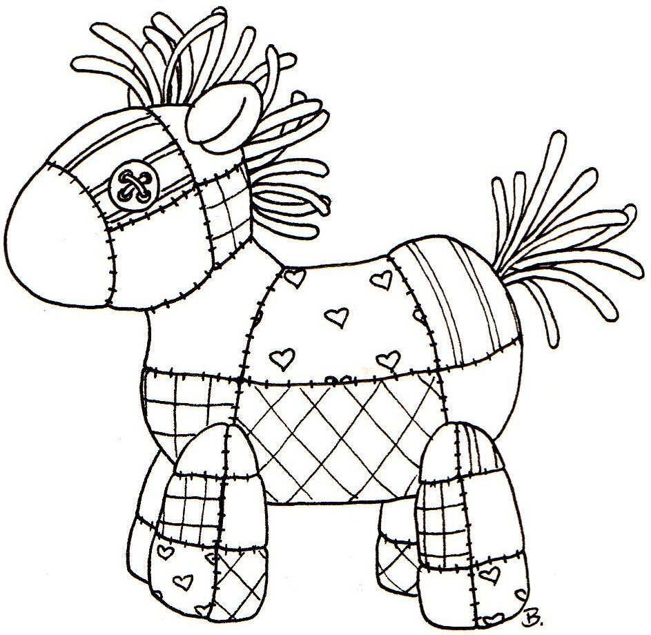 Quilted Horse Good Idea For Appliqu As Well As Cute Stitchery  # Muebles Dibujos Para Colorear
