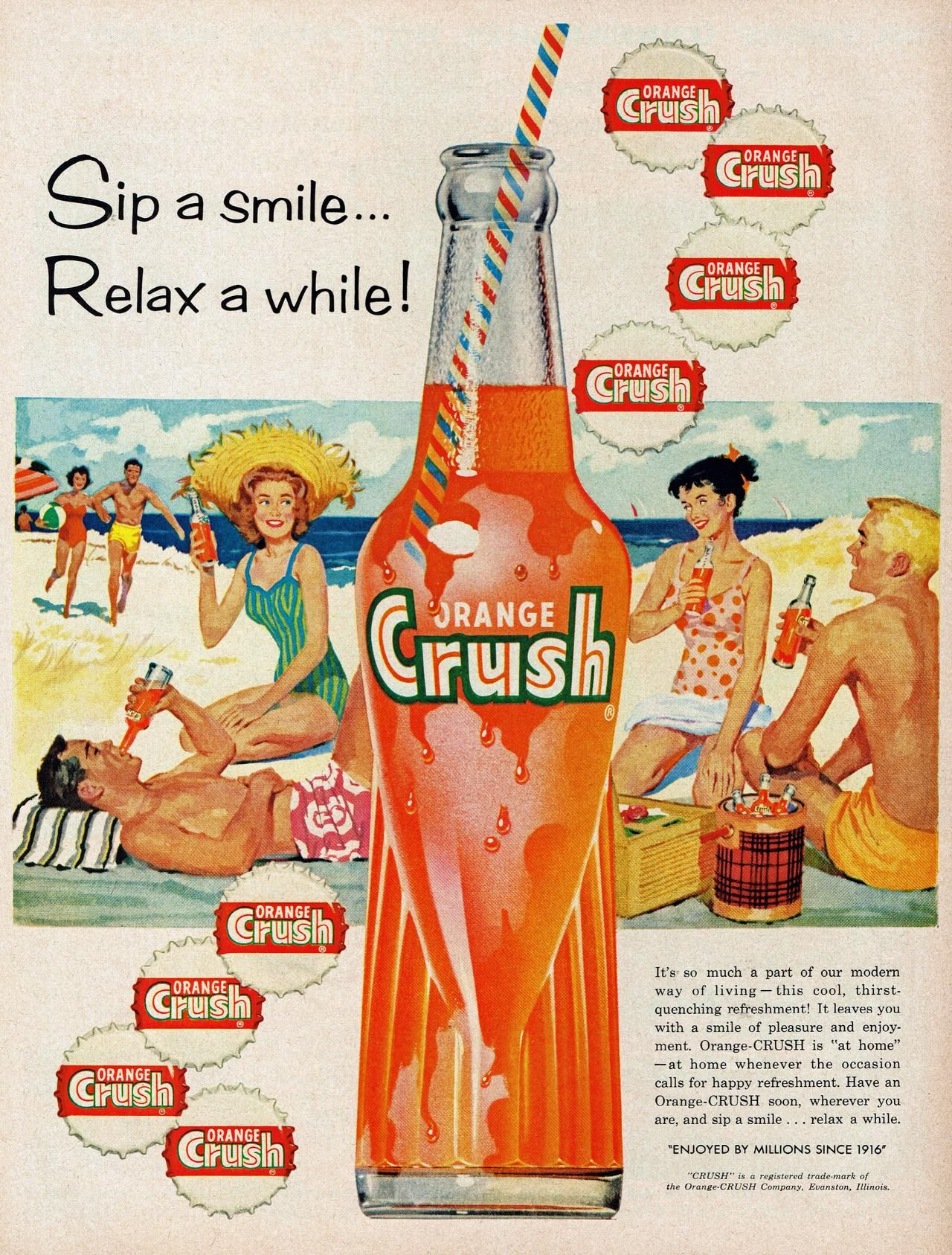 Boy Do I Go For Crush Vintage Print Ad 1946 Orange Crush