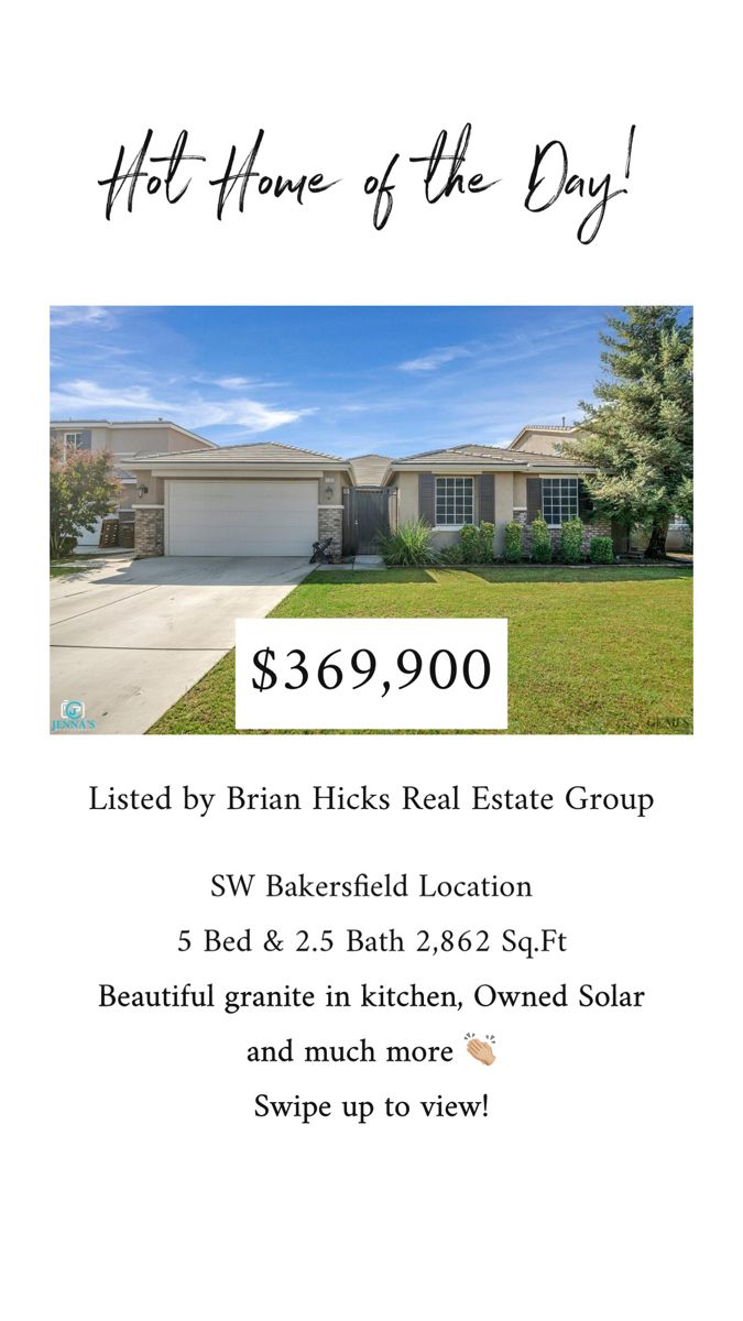Check out this beautiful 5 Bed & 2.5 Bath home for sale in South West Bakersfield! #dreamhome #justlisted #homeforsale Follow us on IG for the daily hot home & buyer & seller tips!