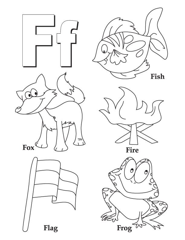 F for fish fox fire flag frog Letter F Pinterest Worksheets